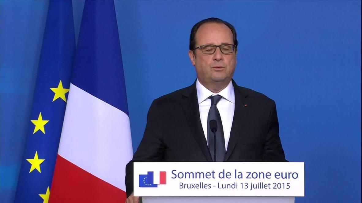 Belgium: Greek debt agreement a 'historical decision' - Hollande