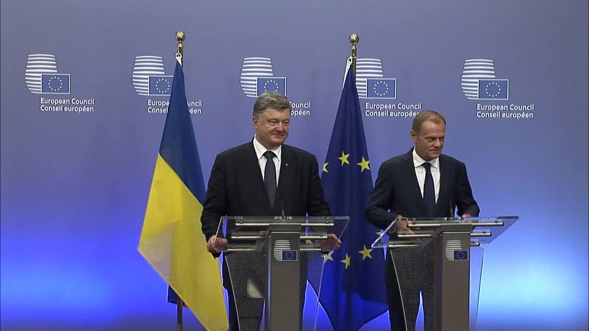 Belgium: Poroshenko and Tusk discuss new ceasefire in eastern Ukraine
