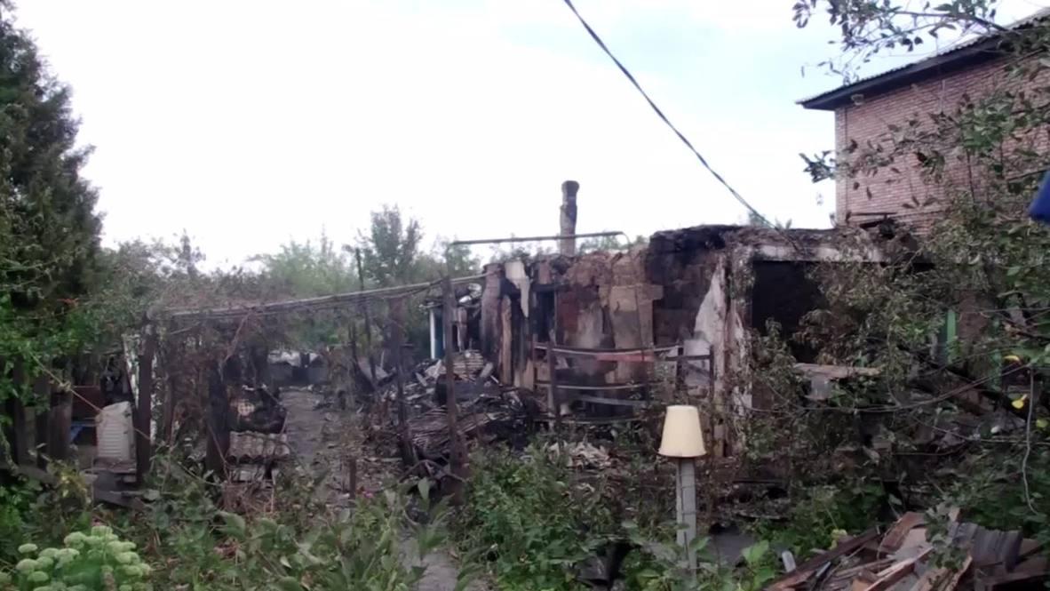 Ukraine: Houses destroyed after shelling in Donetsk's Kirovsky district