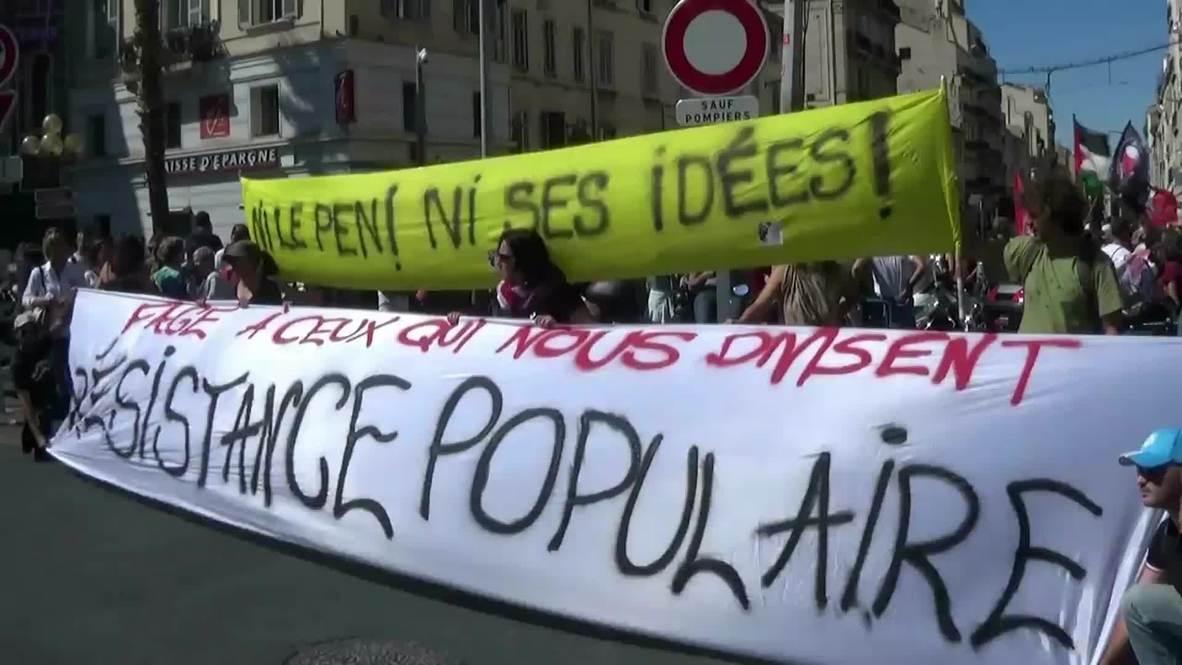 France: Pro-refugee activists protest outside National Front 'summer school'