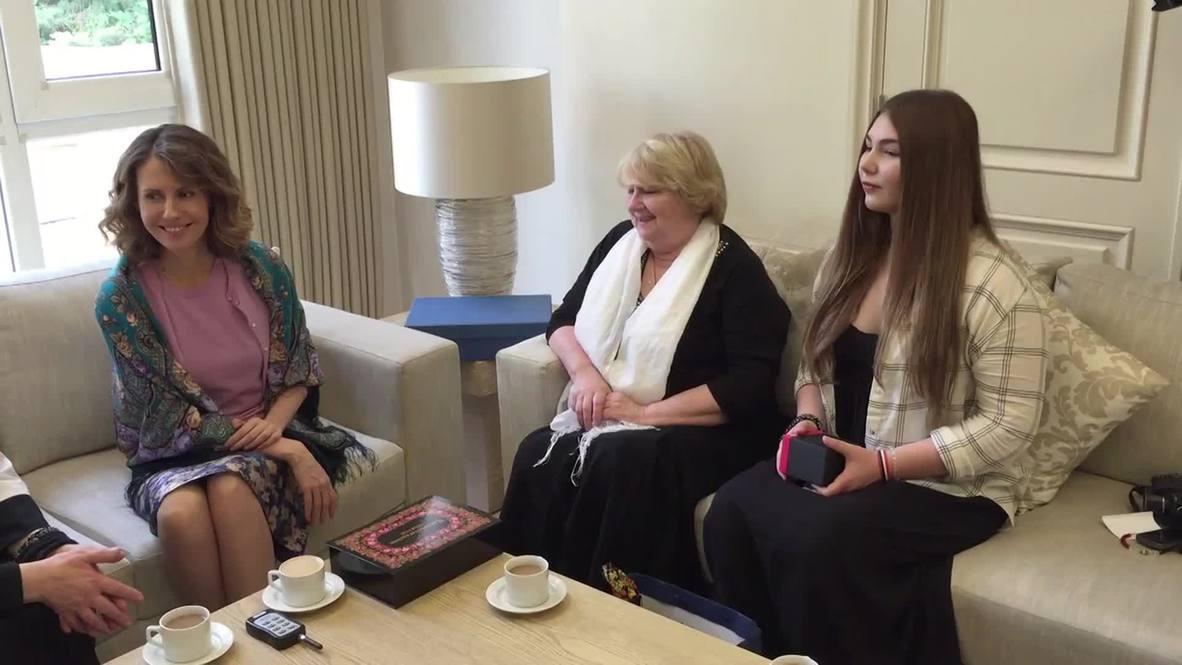 Syria: 'World's strongest girl' Maryana Naumova meets Asma al-Assad