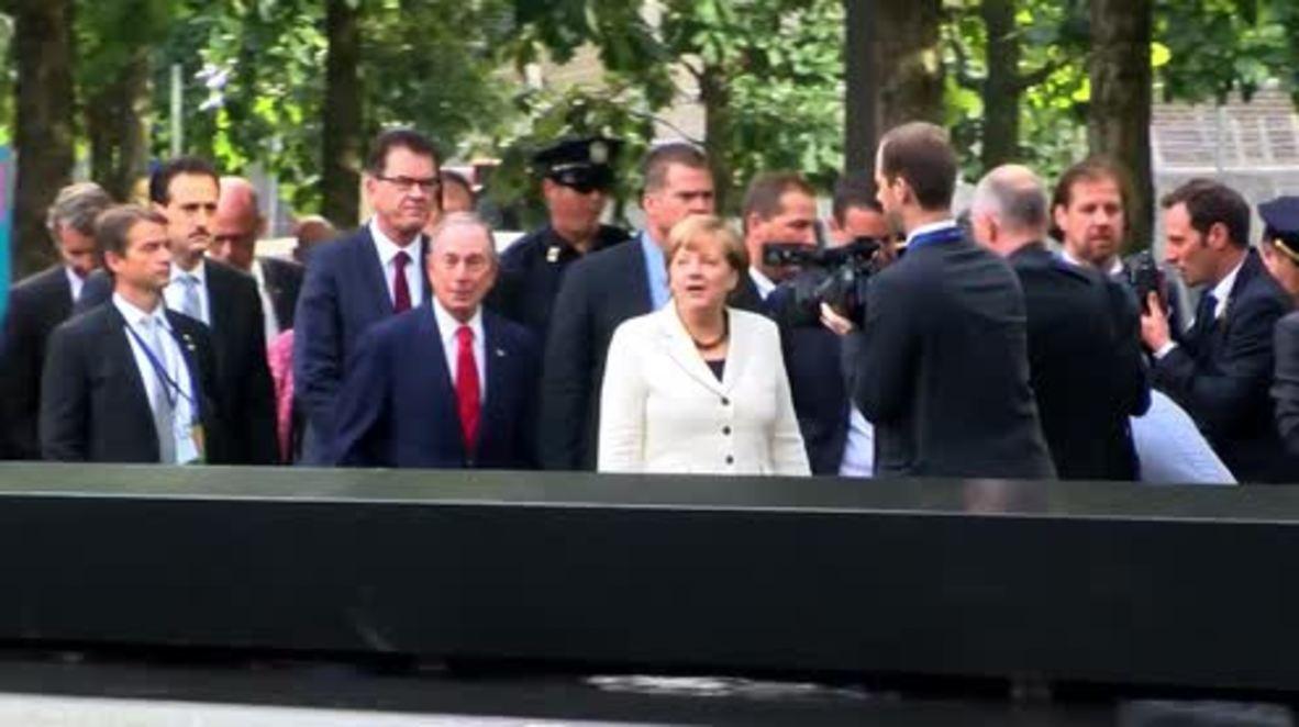 USA: Merkel visits 9/11 memorial in New York