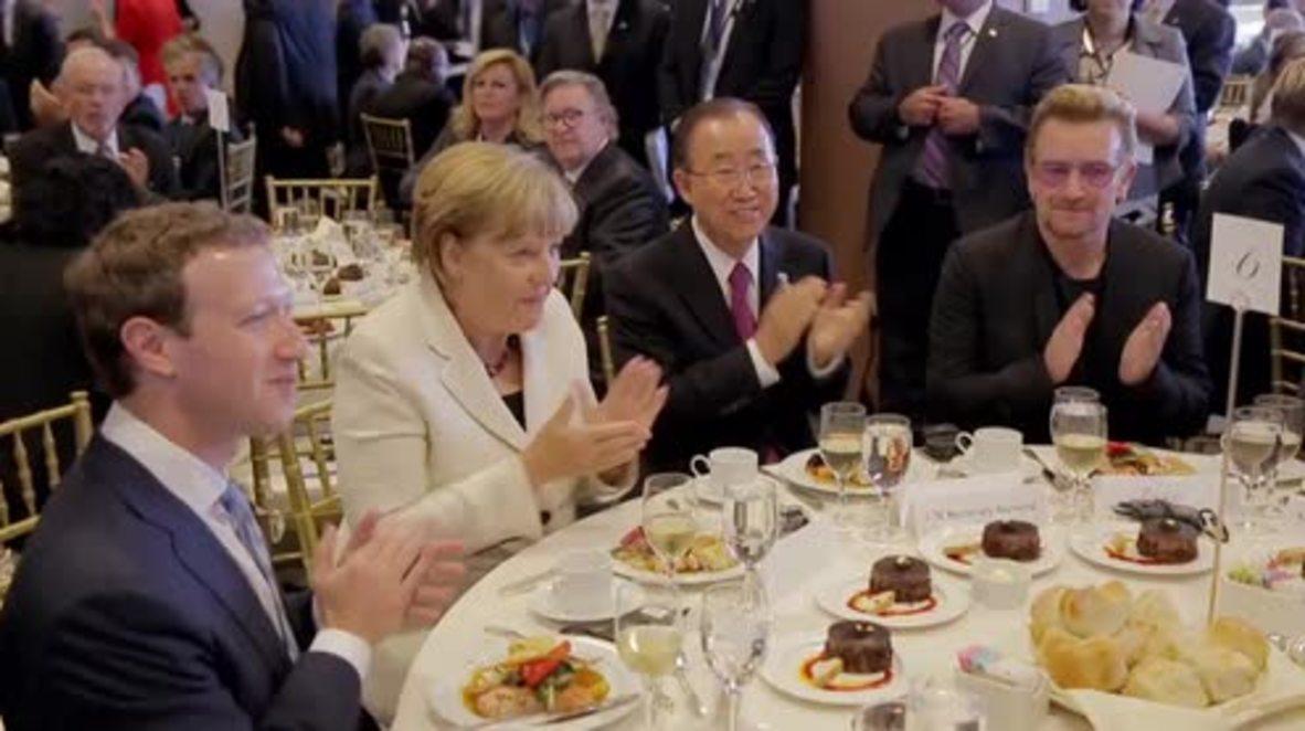 UN: Bono & Mark Zuckerberg talk poverty & human rights at UN headquarters