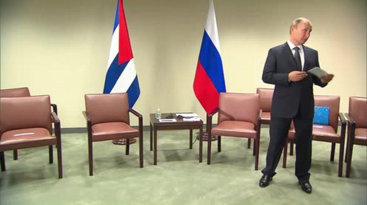 """UN: """"Say hello to Comandante Fidel,"""" Putin tells Raul Castro"""
