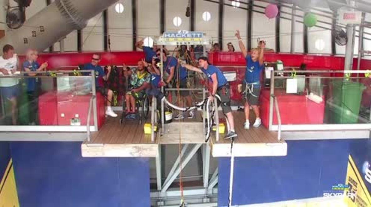 Russia: See disabled Alexei Mayuko enjoy 69m bungee jump