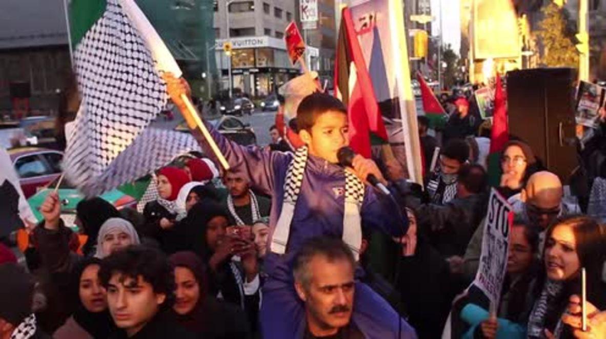 Canada: Pro-Palestinian activists rally outside Toronto's Israeli embassy