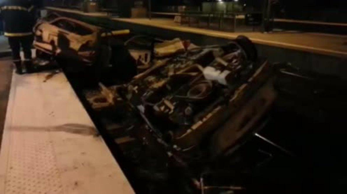 France: Burnt out cars line Moirans' streets after protest turns violent