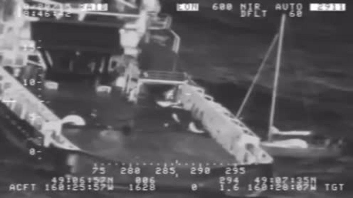 USA: Yachtsman and CAT make dramatic leap onto ship amid high seas