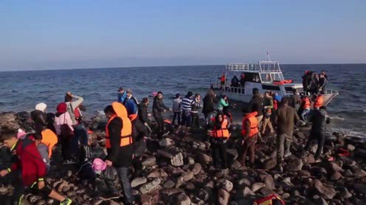 Greece: Hundreds of refugees arrive at Lesbos