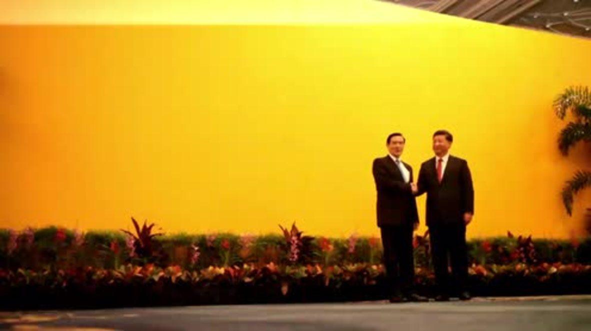 Singapore: Xi Jinping  Taiwanese leader shake hands during historic meeting