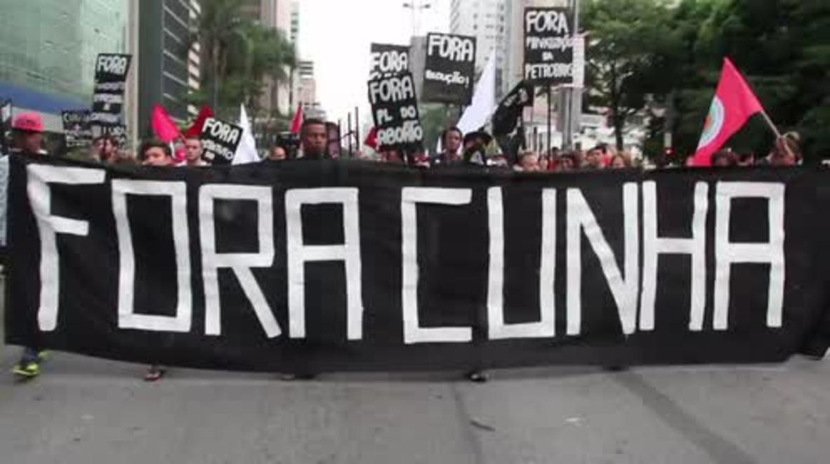 Brazil: Thousands call for Eduardo Cunha's resignation at Sao Paulo march