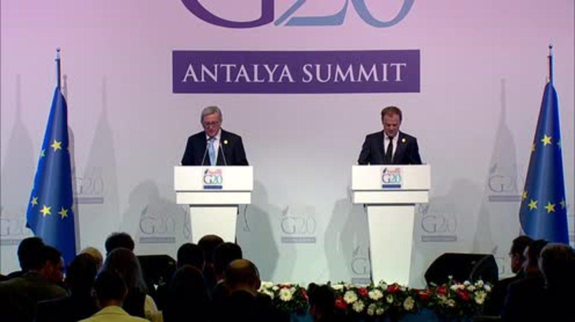 Turkey: EC's Juncker slams refugee policy backlash after Paris attacks