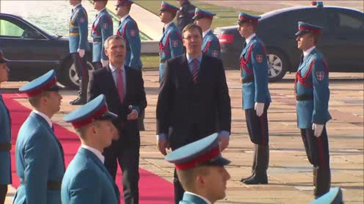 Serbia: PM Vucic receives NATO's Stoltenberg in Belgrade