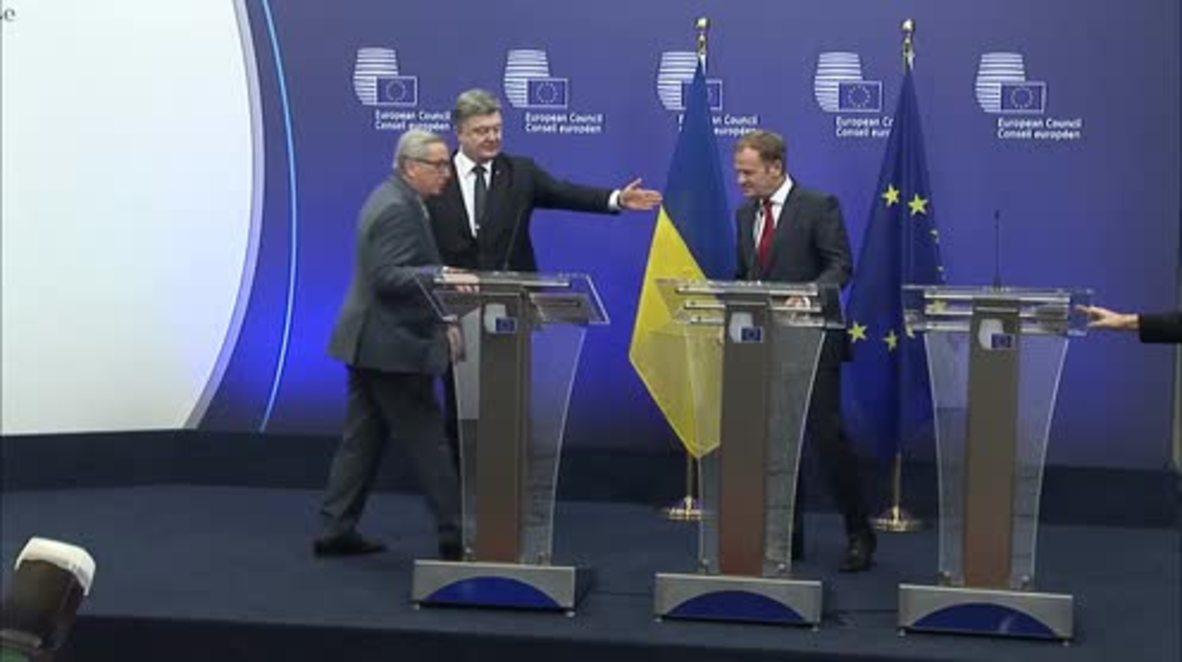 Belgium: Poroshenko 'ready to pay price' for EU trade pact