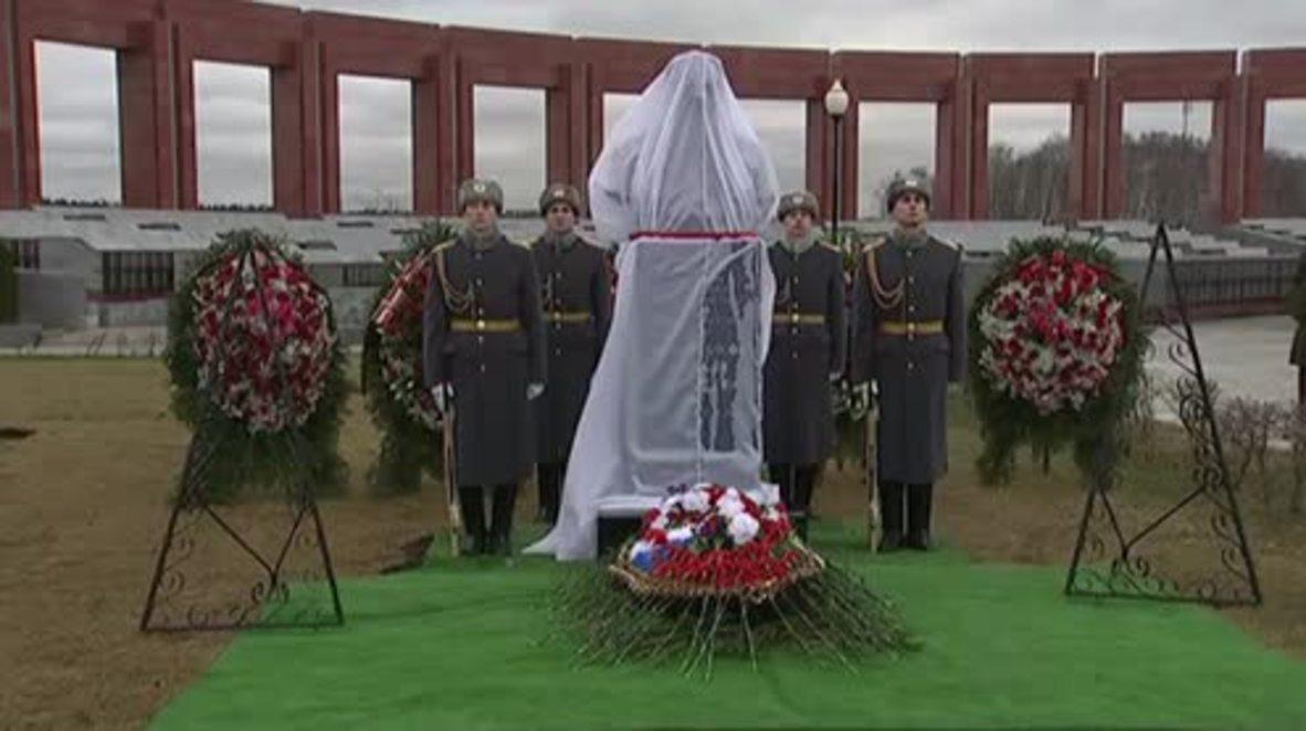 Russia: Mikhail Kalashnikov memorial unveiled at Military Cemetery near Moscow