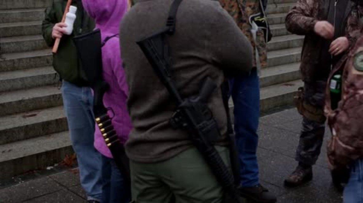 USA: Gun rights activists slam Obama and Hillary Clinton at Olympia rally