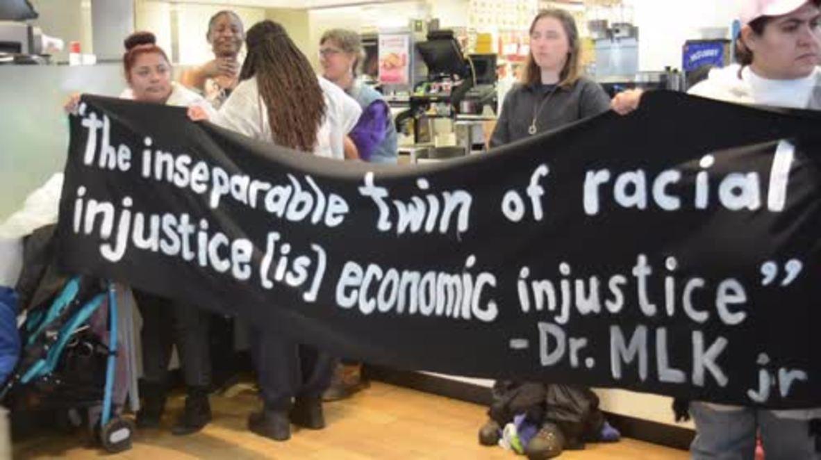 USA: Black Lives Matter activists shut down McDonald's restaurant