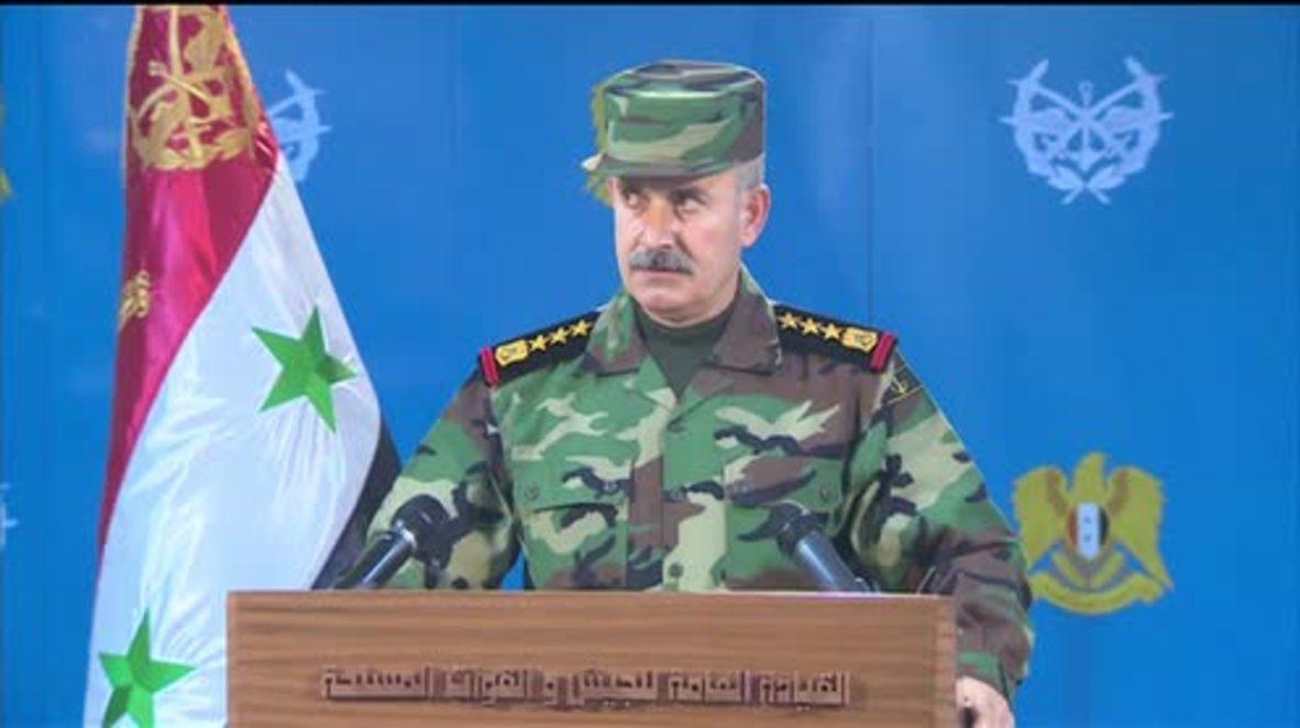 Syria: Army spokesperson announces liberation of Rabia