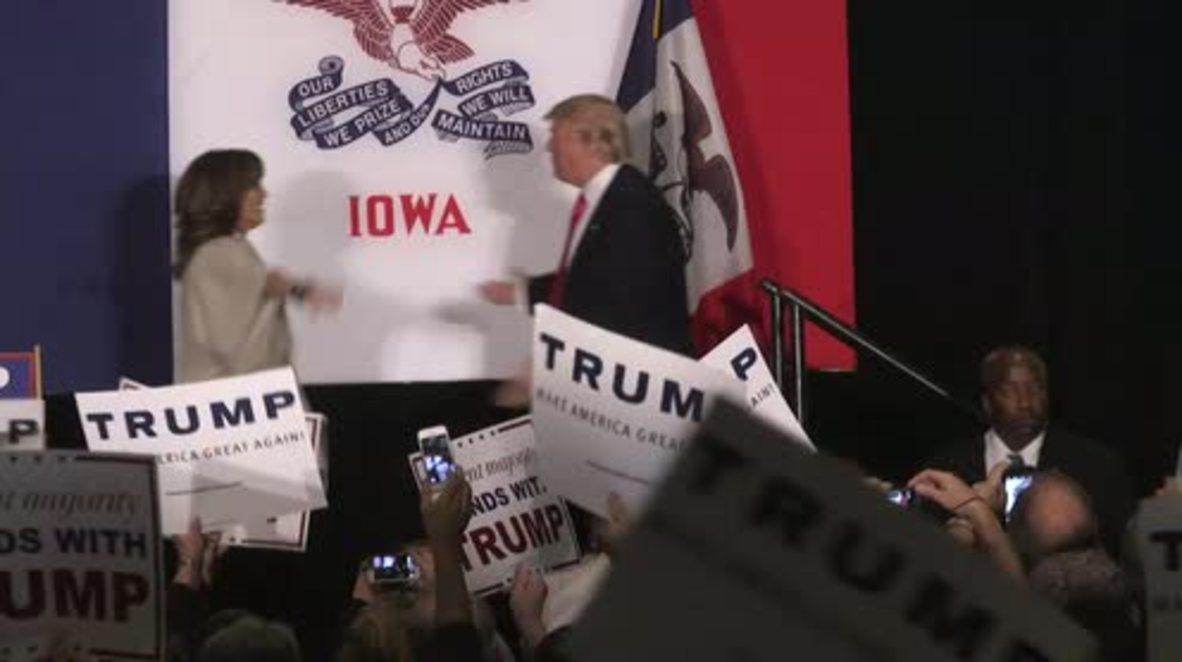 USA: Trump rallies crowds ahead of Iowa Caucus results