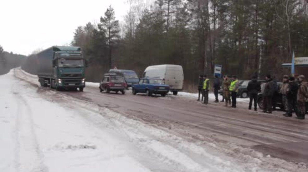 Ukraine: Russian trucks stranded at border as nationalists continue blockade