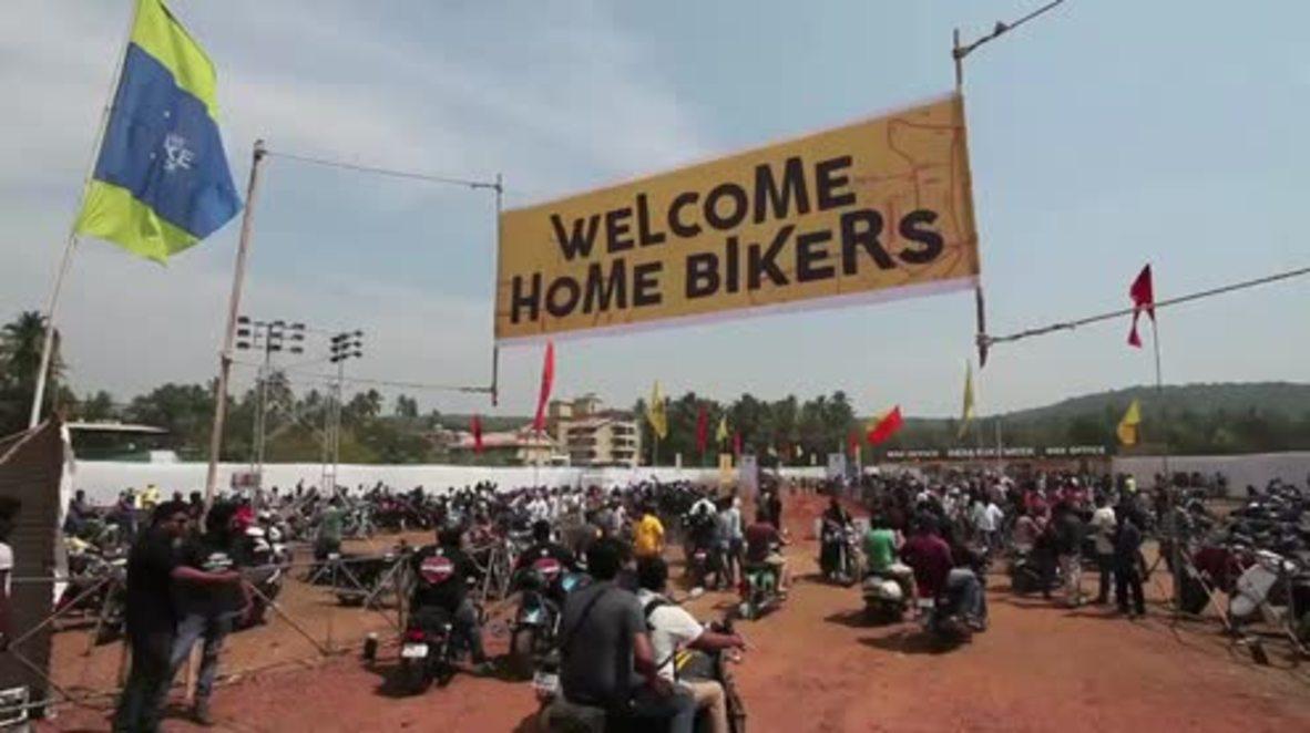 India: Harley Davidson bikers roll into Goa for India Bike Week