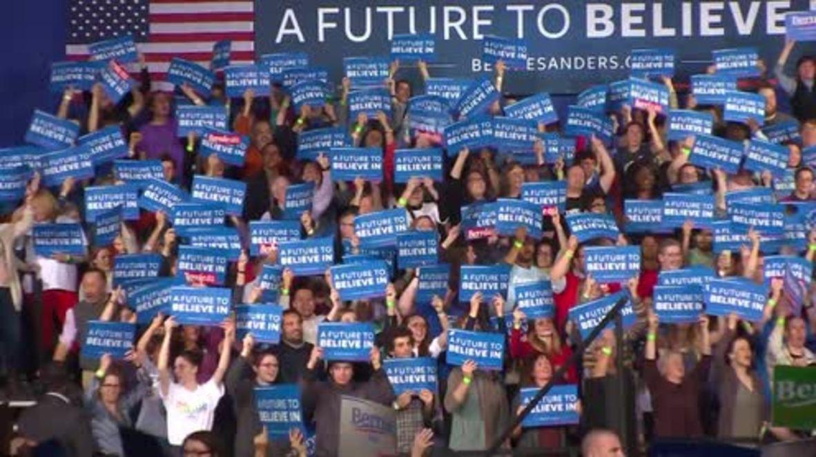 USA: Sanders celebrates victory in Vermont primary