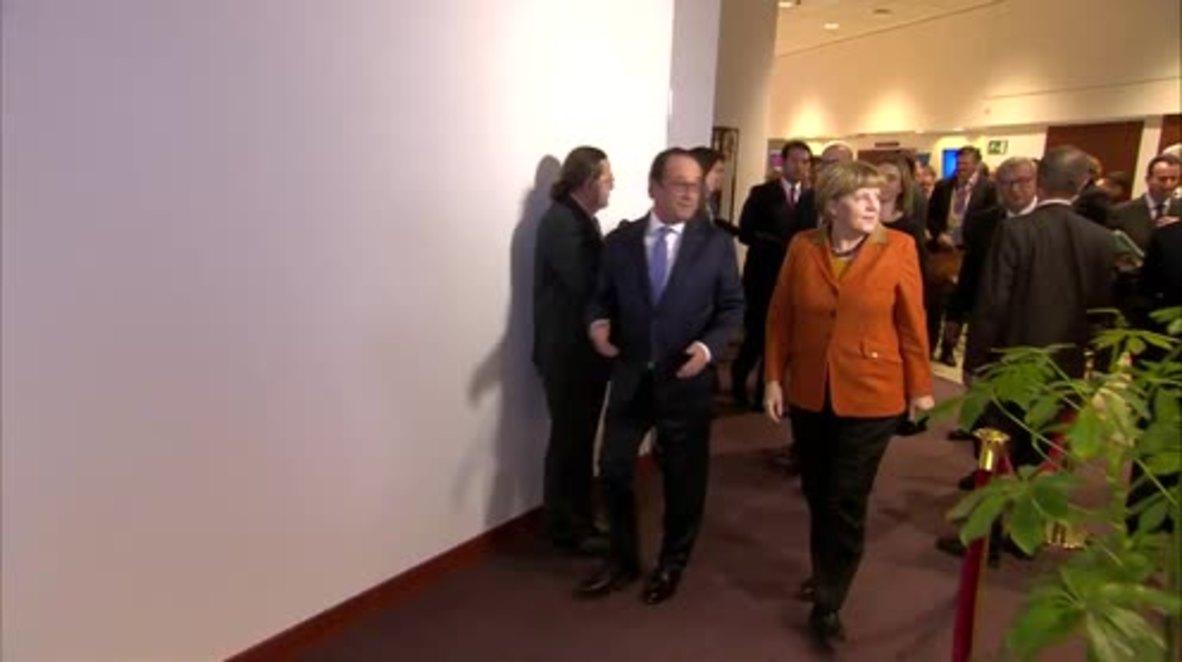 Belgium: European leaders pose for photos at EU-Turkey migration summit