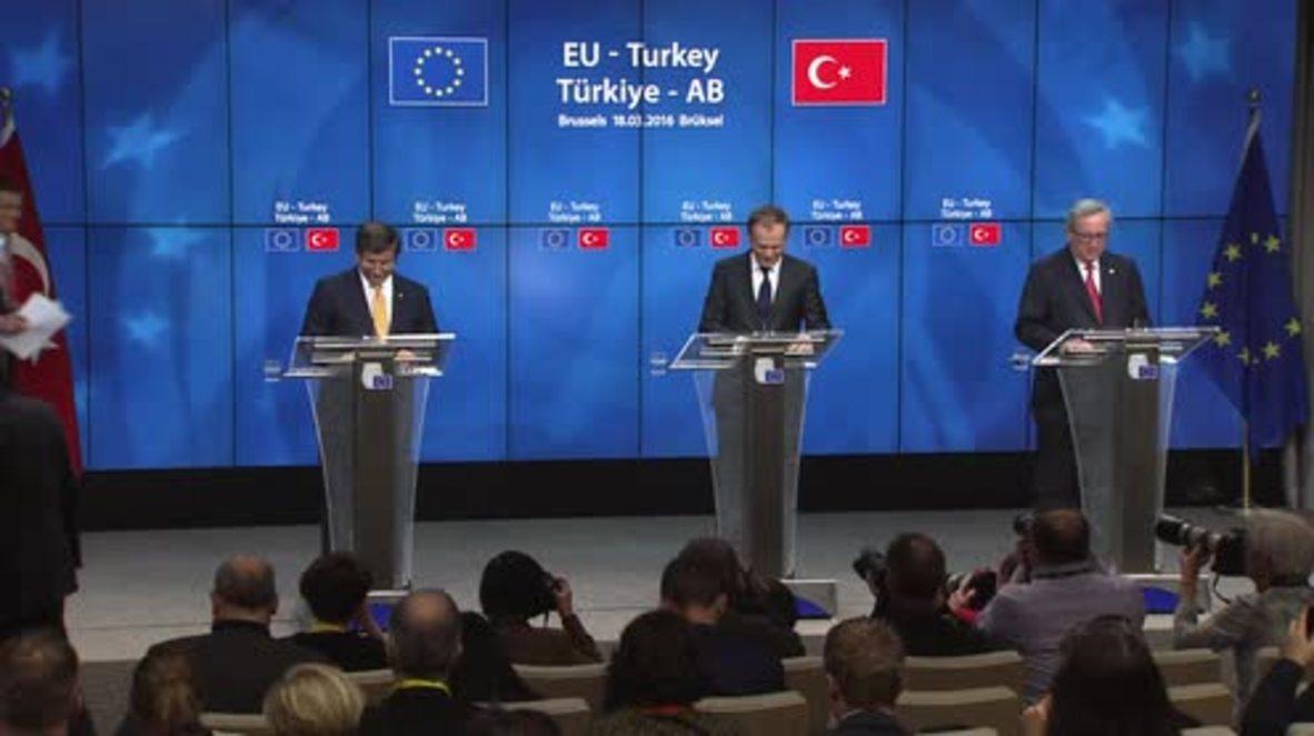 Belgium: Turkey and EU agree to return 'illegal' migrants - Davutoglu confirms