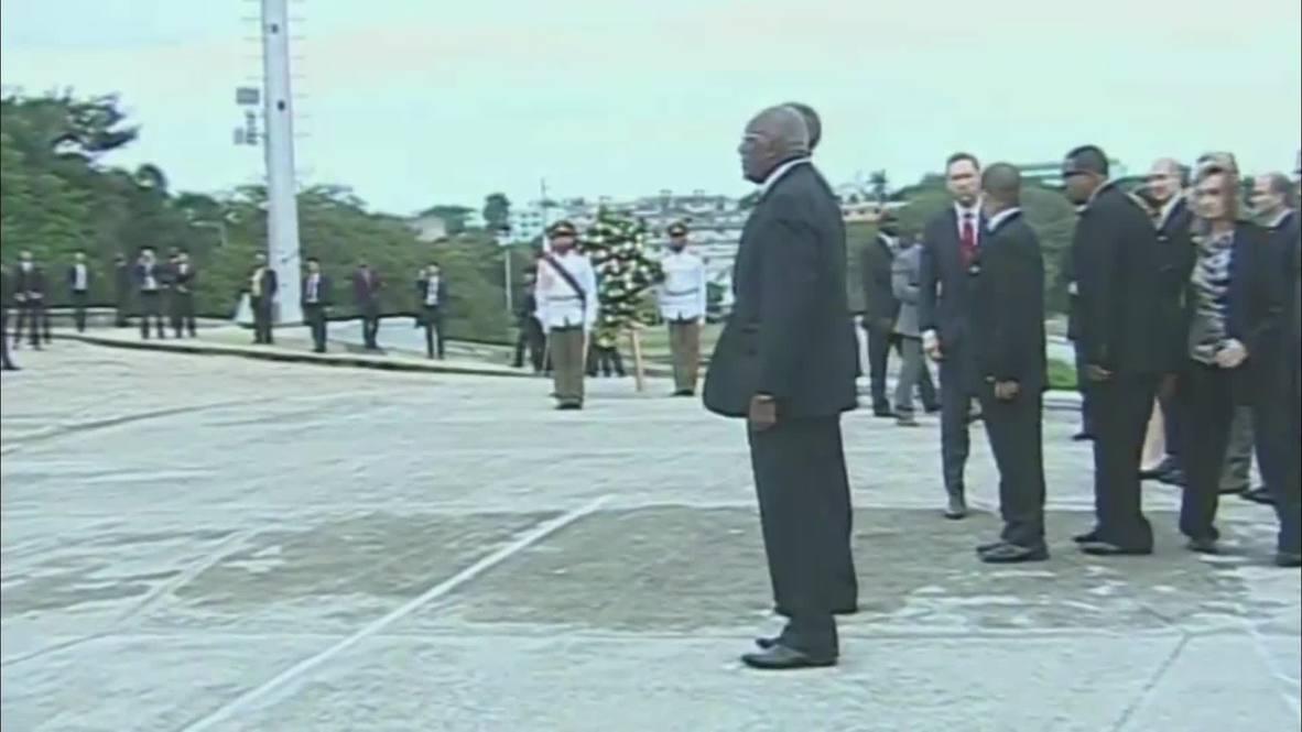 Cuba: Obama attends wreath laying at Jose Marti Memorial in Havana