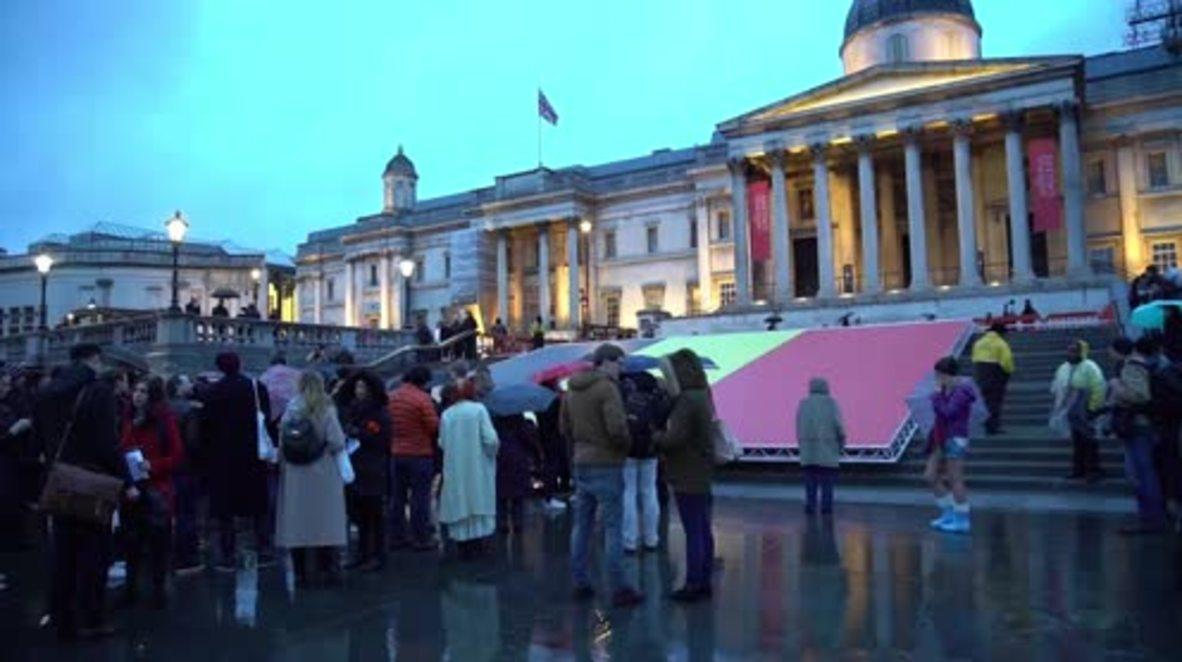 UK: Vigil held in solidarity with Belgium in Trafalgar Square