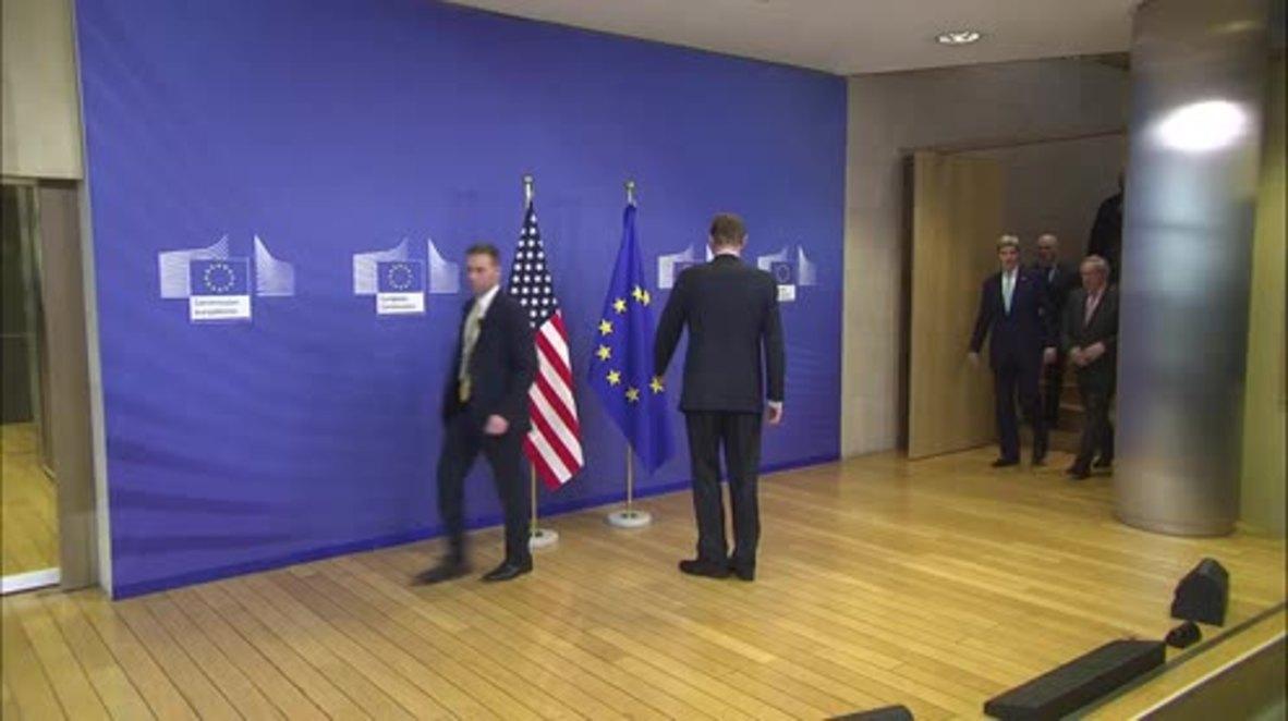 Belgium: Kerry and Juncker talk counter-terrorism after Brussels attacks