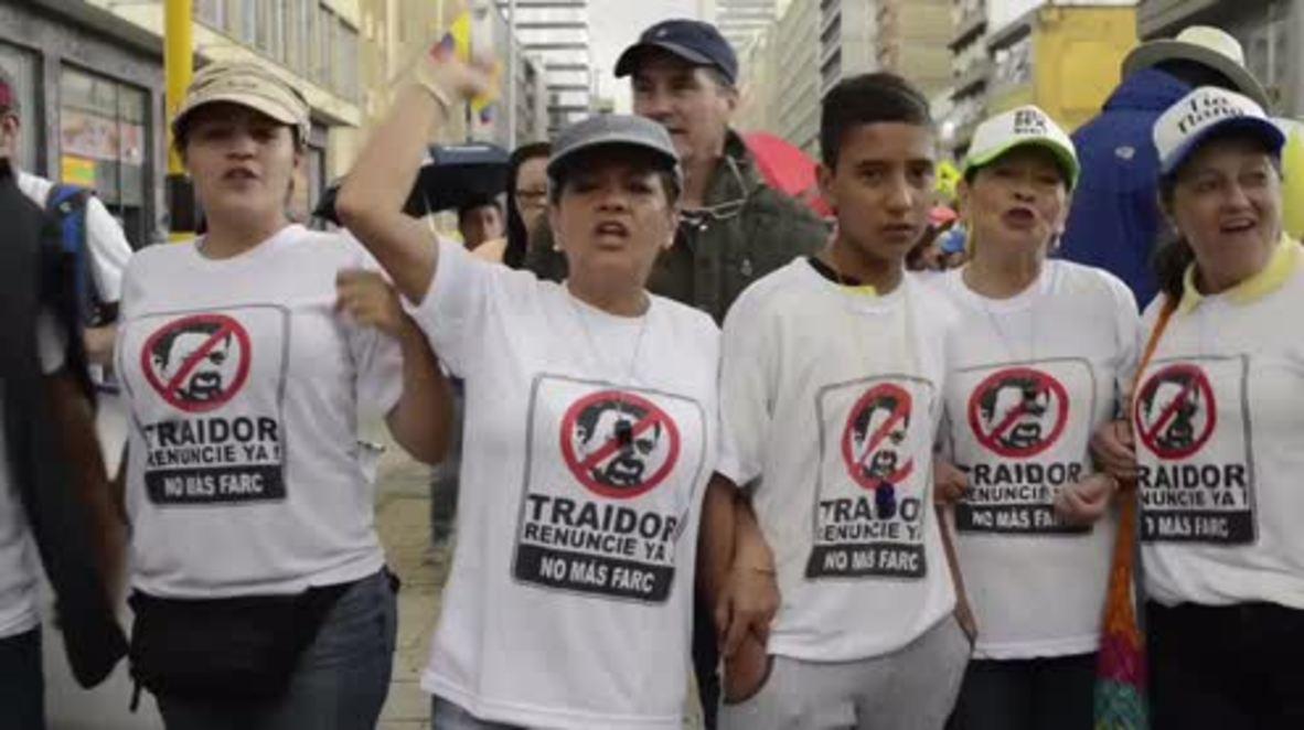 Colombia: Thousands denounce FARC peace process in Bogota