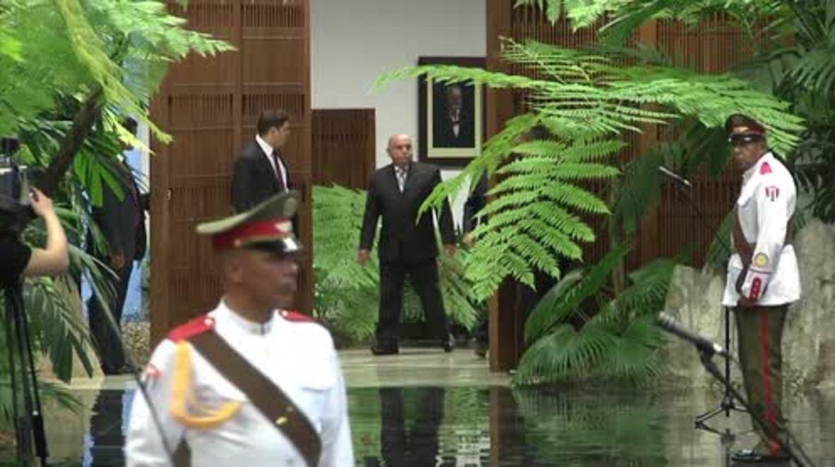 Cuba: Castro welcomes Kazakh President Nazarbayev with military honours