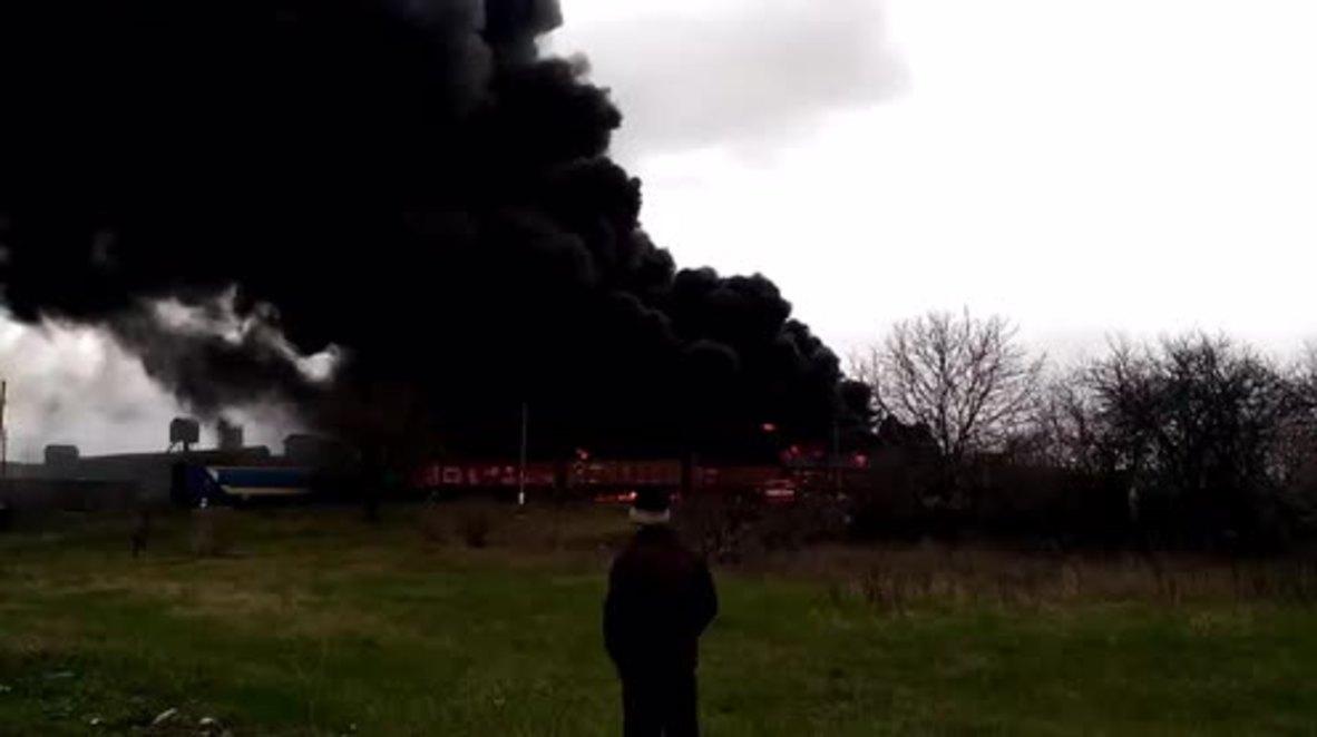 Ukraine: Authorities suspect landmine was cause of train blaze near Russian border