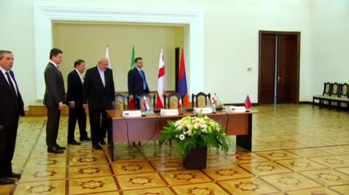 Armenia: Novak sign 'Energy Corridor' map with Armenia, Georgia, and Iran
