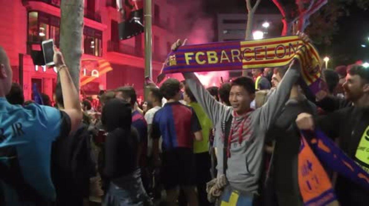 Spain: FC Barcelona fans jubilant after club's 28th Copa del Rey title win