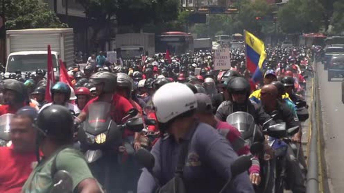 Venezuela: Bikers ride through Caracas in support of Maduro