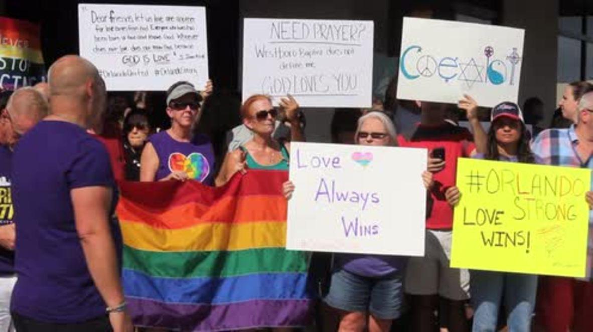 USA: Activists block anti-LGBTQ protest outside Orlando shooting victim's funeral