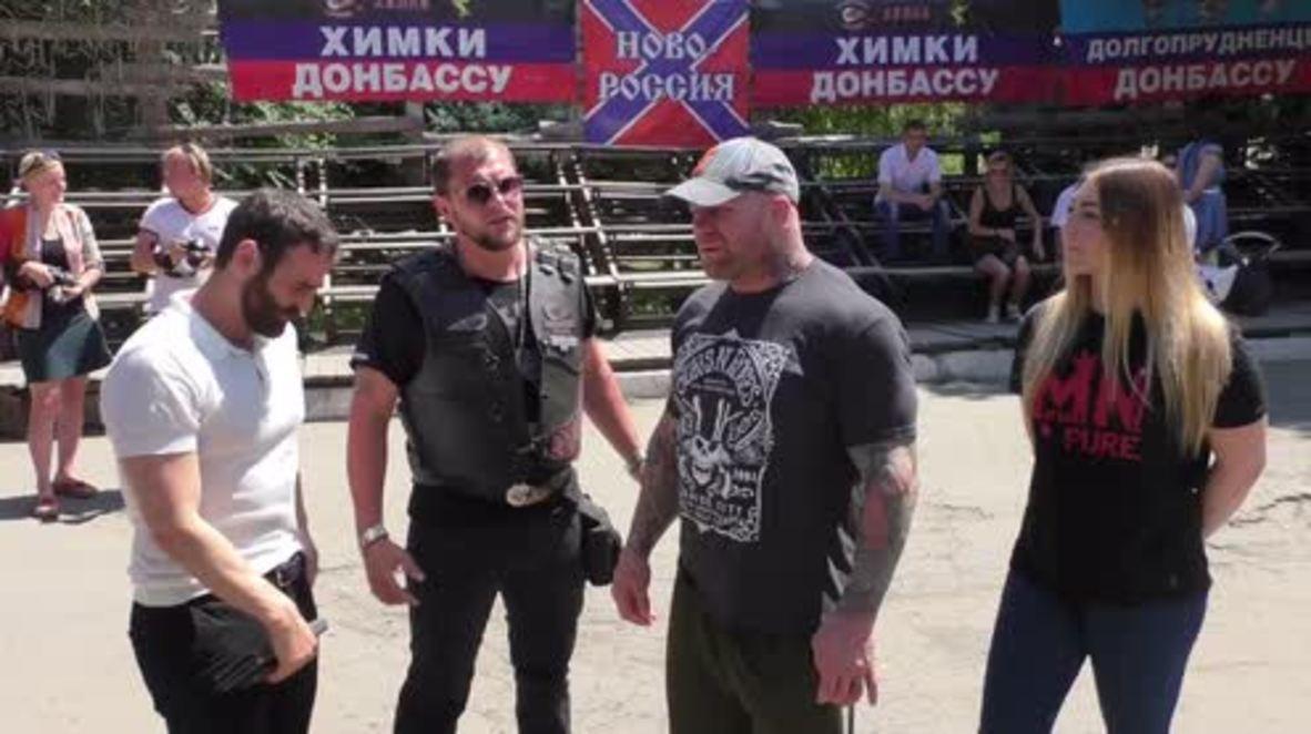 Ukraine: MMA fighter Jeff Monson accompanies Night Wolves for Lugansk visit