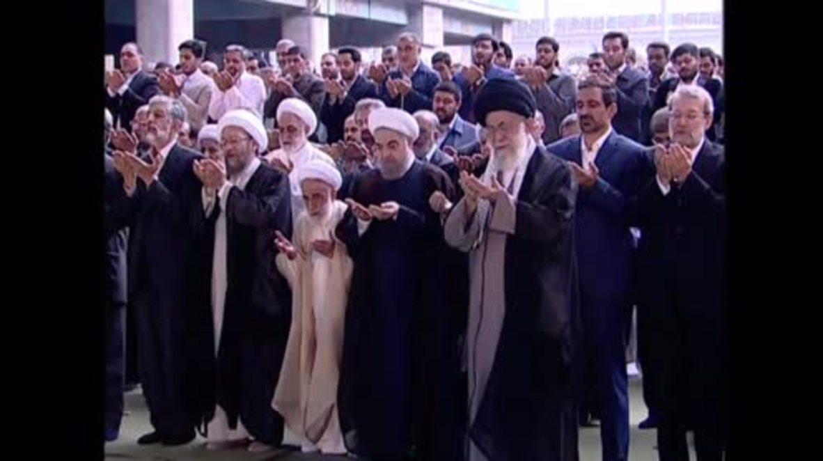 Iran: Supreme Leader Khamenei joins thousands for Eid al-Fitr morning prayers