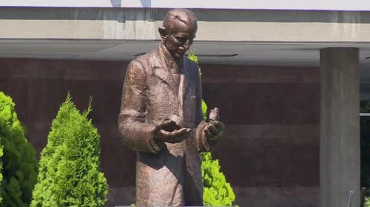 Serbia: Monument to Nikola Tesla unveiled in Belgrade on scientist's 160th birthday