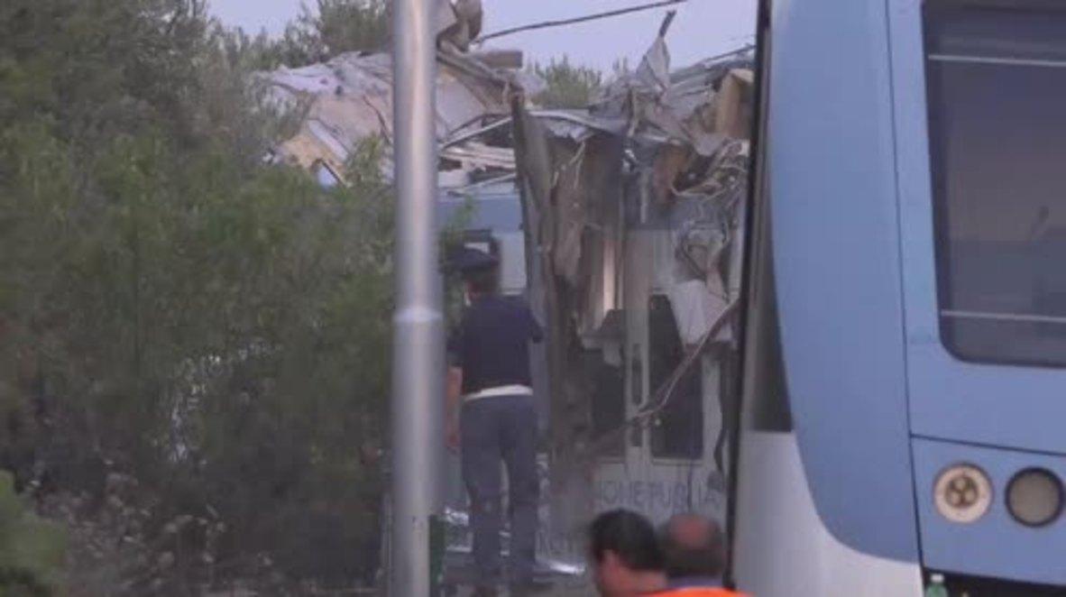 Italy: Renzi visits site of Puglia train crash after 23 dead, 50 injured