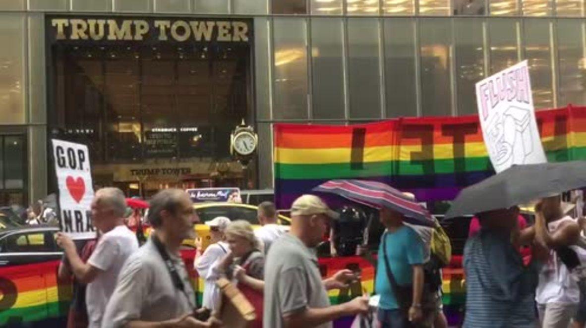 USA: Pro-LGBT activists picket Trump Tower as GOP convention kicks off