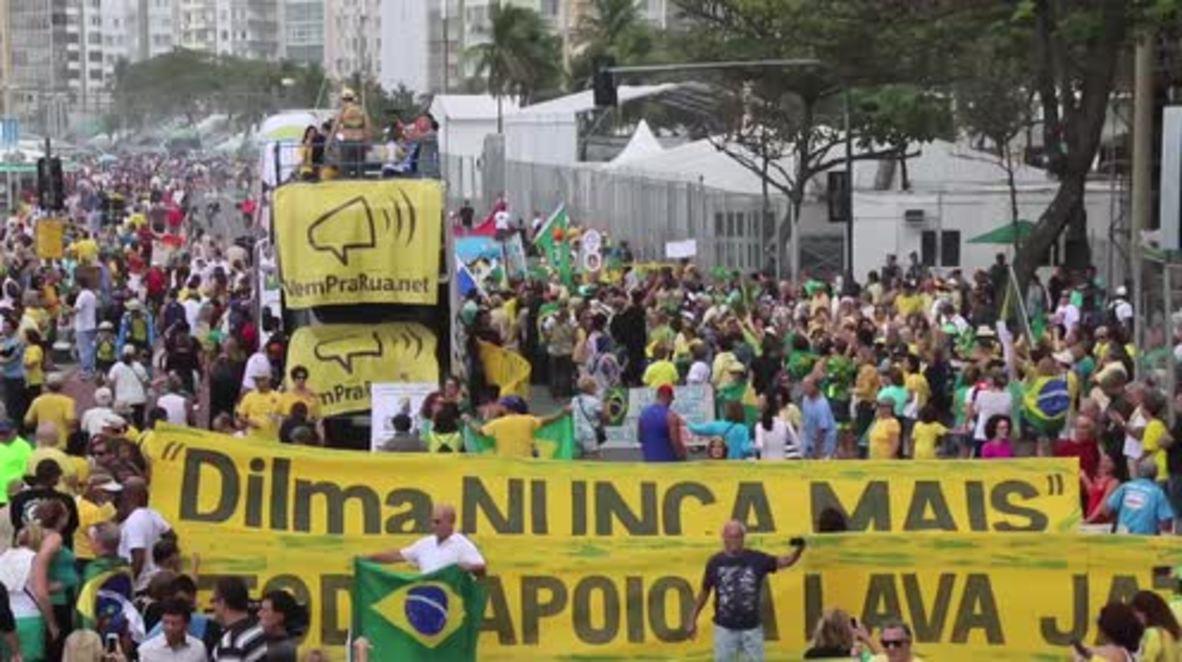Brazil: Congressman Bolsonaro leads right-wing anti-Dilma protest in Rio
