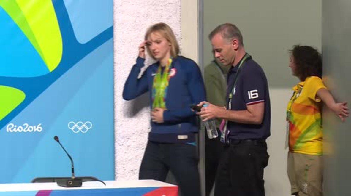 Brazil: Ledecky gives press conference after winning 4th gold medal