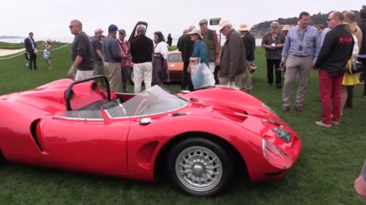 USA: Vintage supercars paraded at prestigious Concours d'Elegance auto show