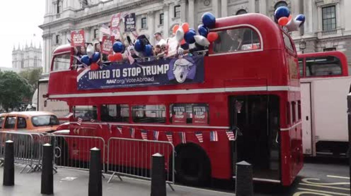 UK: Campaigners drive 'Stop Trump' bus through London