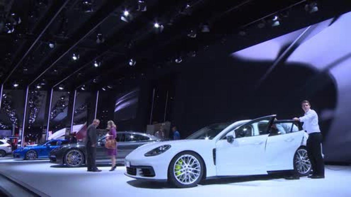 France: Porsche display Panamera 4 E-Hybrid to audiences at Paris Motor Show