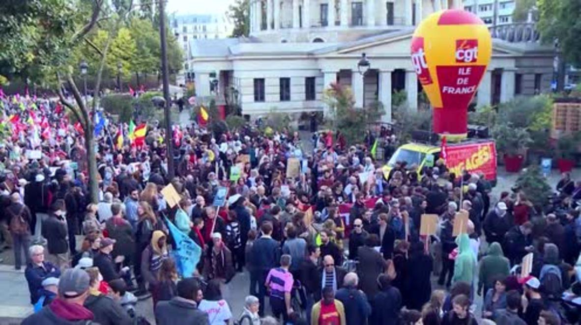 France: Hundreds rally against transatlantic trade agreements in Paris