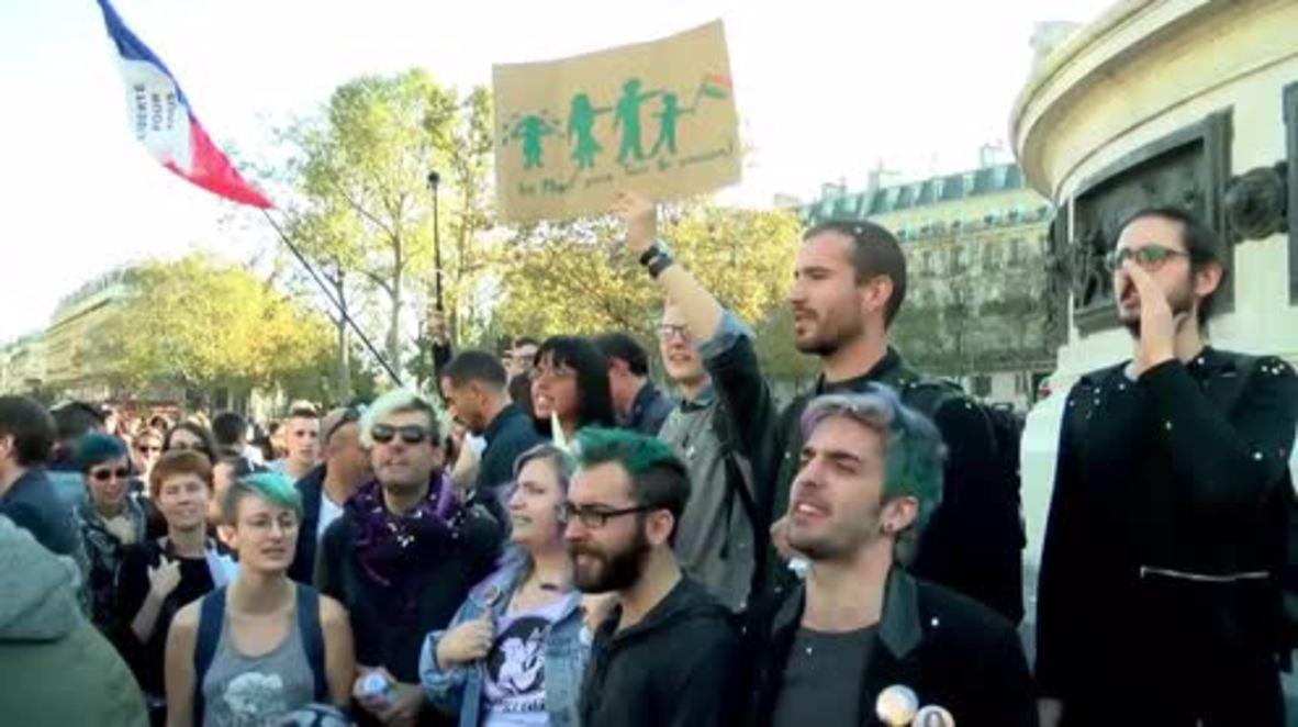 France: Pro-LGBT activists stage counter-protest to 'La Manif pour Tous' march